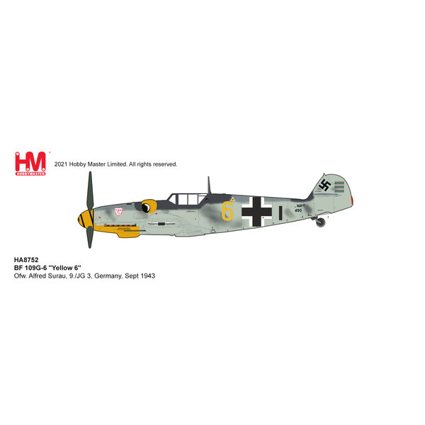 Hobby Master BF109G-6 9./JG 3 YELLOW6 Surau 1:48 +Preorder+