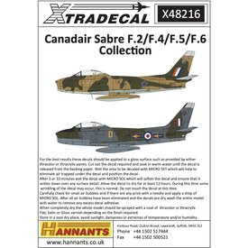 Xtradecal Canadair Sabre F.2/F.4/F.5/F.6 decals collection 1:48