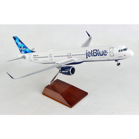 A320S JetBlue Barcode 1:100 sharklets with Wood Stand & Gear +NSI+