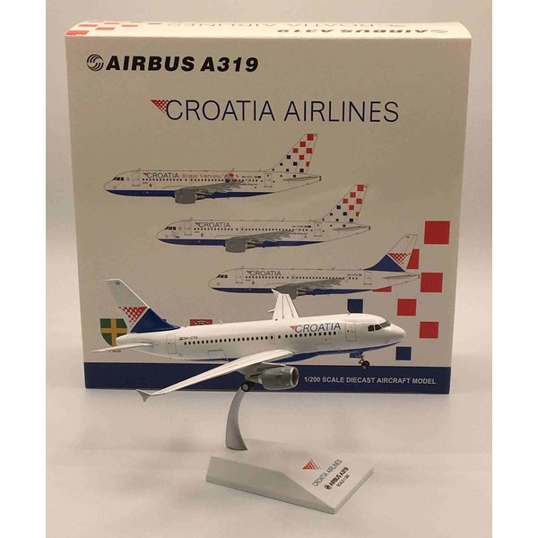 JC Wings A319 Croatia Airlines 9A-CTG 1:200 with stand