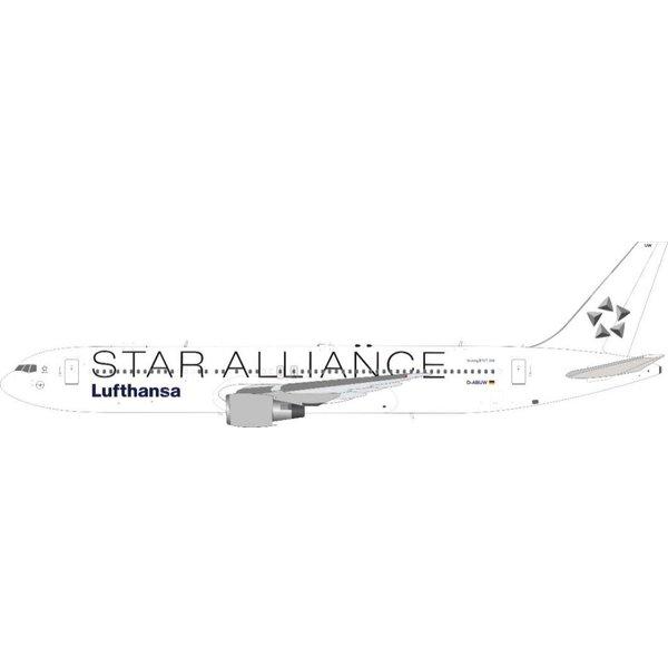 JFOX B767-300ER Lufthansa Star Alliance white tail D-ABUW 1:200 with stand +Preorder+