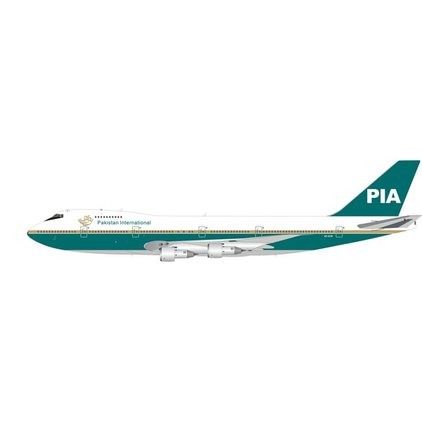 InFlight B747-200 PIA Pakistan Int'l old livery AP-AYW 1:200 with stand +Preorder+