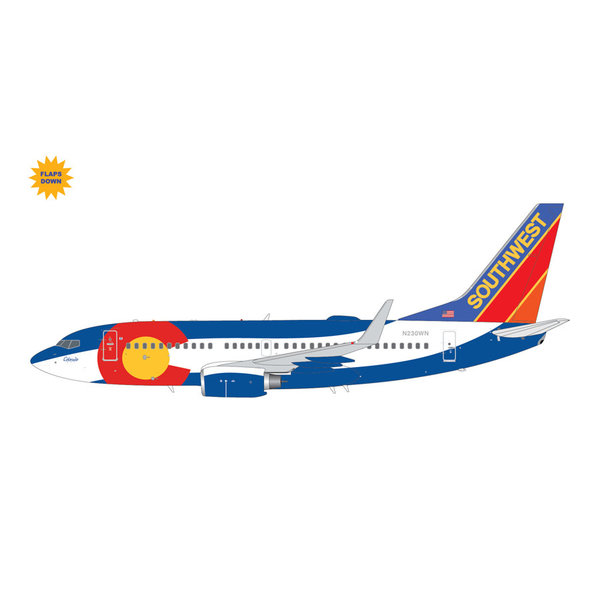 Gemini Jets B737-700W Southwest Airlines Colorado One N230WN 1:200 flaps down
