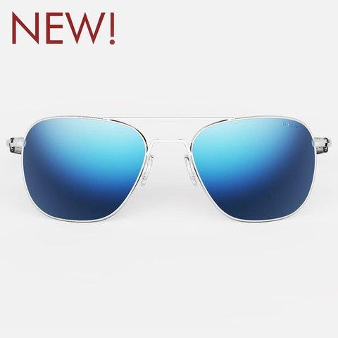 Aviator Bright Chrome Skyforce™ Polarized Atlantic Blue