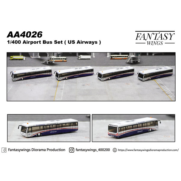 JC Wings Airport Passenger Bus US Airways 1:400 (4 in each set) +preorder+