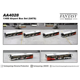 JC Wings Airport Passenger Bus SATS 1:400 (4 in each set) +preorder+