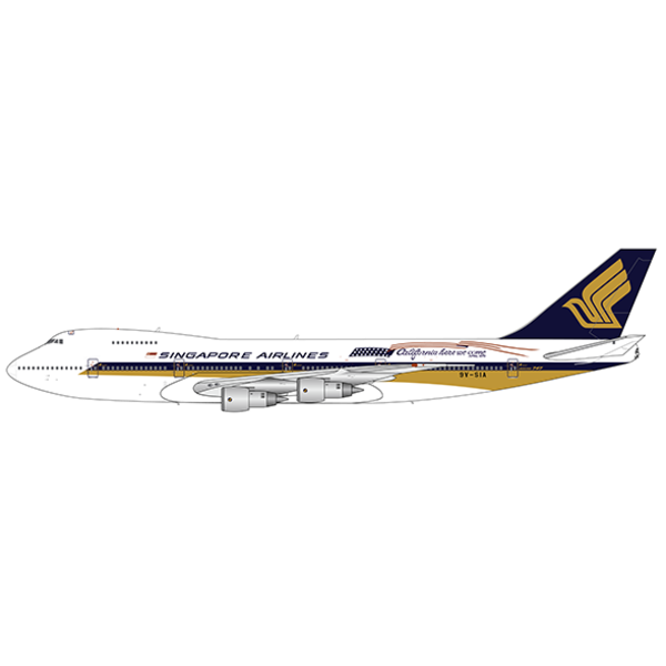 JC Wings B747-200 Singapore Airlines California 9V-SIA 1:200 with stand +preorder+