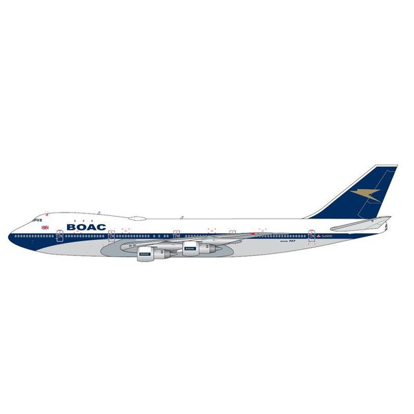 Gemini Jets B747-100 BOAC Blue/Gold G-AWNF 1:200 Polished with stand