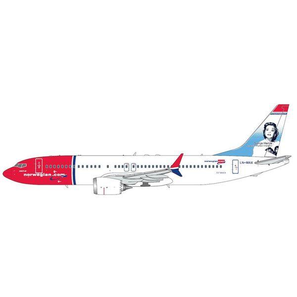 Gemini Jets B737 MAX8 Norwegian Sonja Henie LN-MAX 1:200 with stand