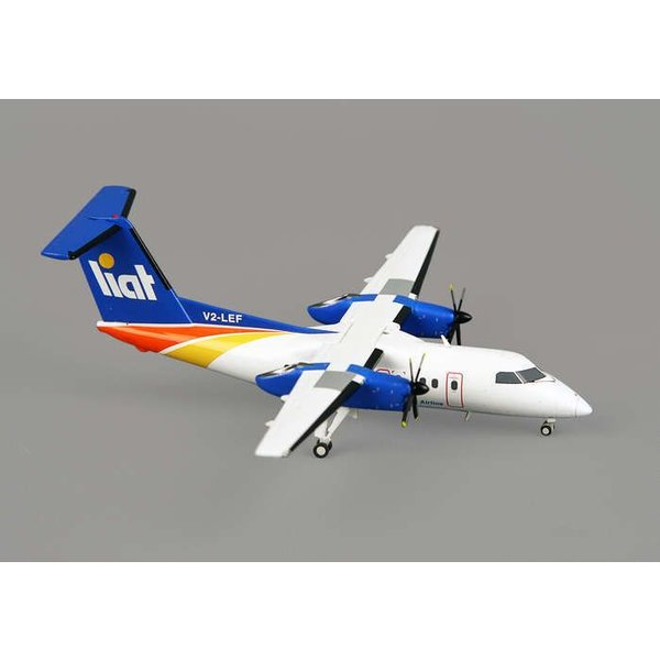 Gemini Jets Dash8-100 Liat Caribbean V2-LEF 1:200 with stand