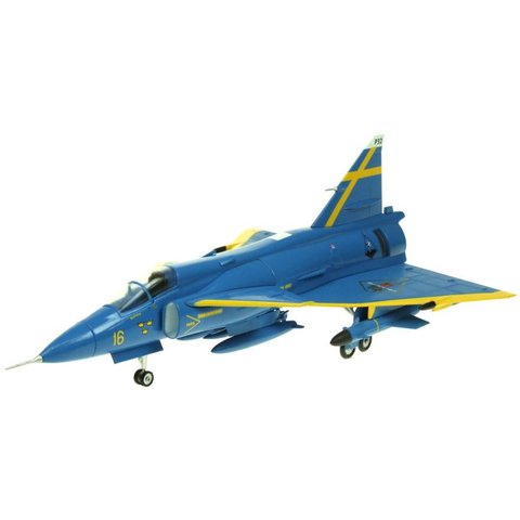 AV72 JA37 Viggen Swedish Air Force Blue Petter uppsala 1:72 with stand