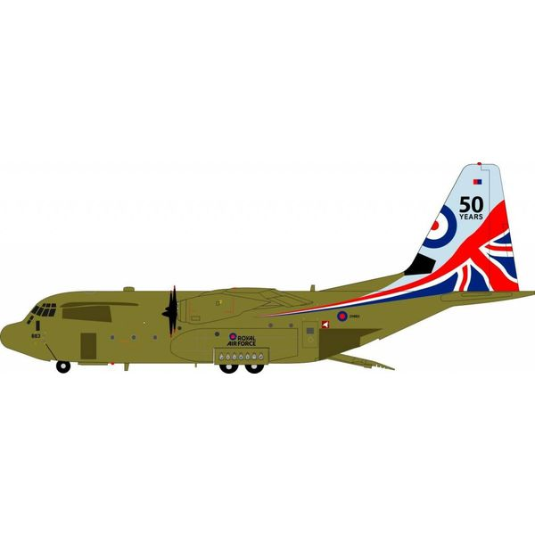 InFlight C130J Hercules C5 Royal Air Force RAF 50 Years ZH883 1:200 with stand