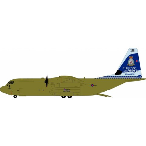 C130J-30 Hercules C4 Royal Air Force RAF 206 Squadron 100 Years ZH866 1:200 with stand