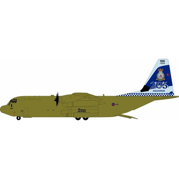 InFlight C130J-30 Hercules C4 Royal Air Force RAF 206 Squadron 100 Years ZH866 1:200 with stand