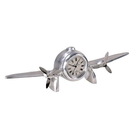 Clock Art Deco Airplane Chrome