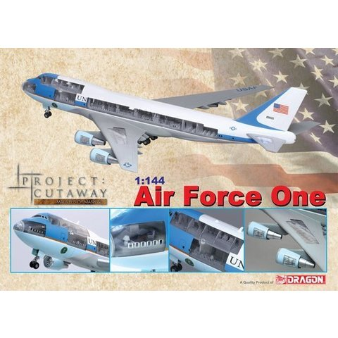 DRAGO VC25/B747-200 USAF AIR FORCE ONE CUTAWAY 1:144 W/STAND