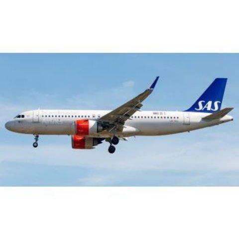 A320neo SAS Scandinavian LN-RGL 1;200 with stand