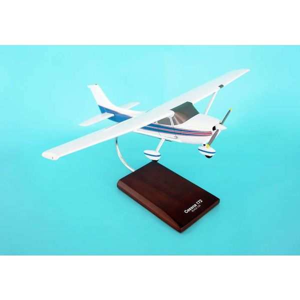 Cessna C172R Skyhawk red/blue cheatline 1:24 with stand