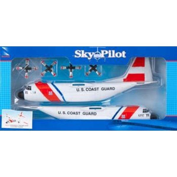 """NewRay C130 Hercules US Coast Guard 9"""" Model Kit Prepainted Sky Pilot"""
