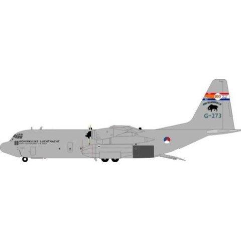 JFox2 C130H30/L382 Hercules Royal Netherlands Air Force RNLAF G-273 Blackbulls 100 Years 1:200 w/stand