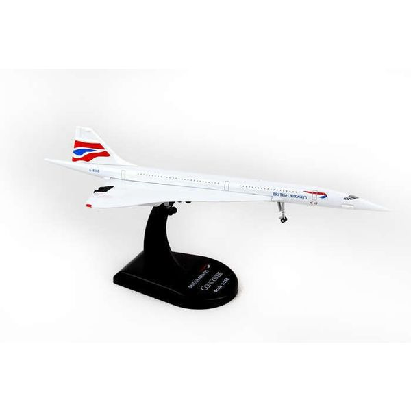 Postage Stamp Concorde British Airways Union Jack Livery 1:350 with stand