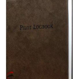"Pilot Logbook Aviation Brown leather, hardcover 9"" x 9 1/4"""