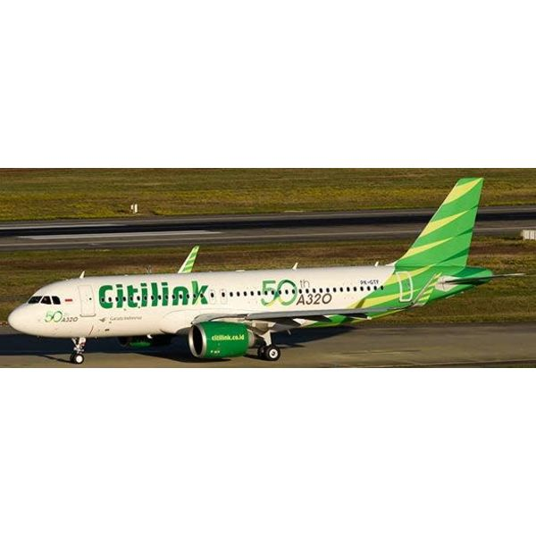 JC Wings JCWIN A320neo Garuda Citilink 50th A320 PK-GTF 1:400 w/Antenna