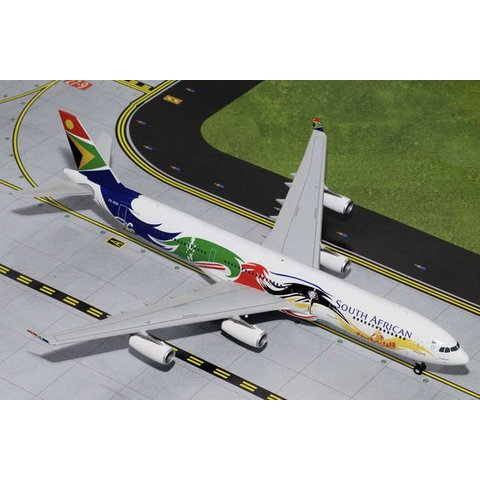 A340-300 South African Siyanqoba Olympics ZS-SXD 1:200 with stand
