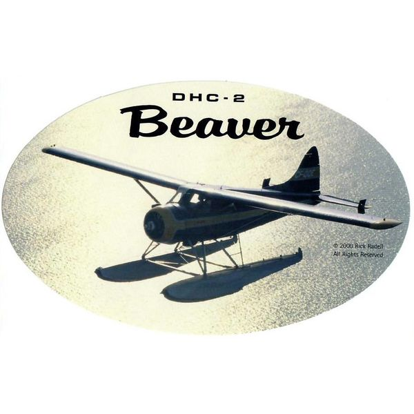 deHavilland DHC2 Beaver Oval Silhouette 3 3/4'' X 6'' Sticker