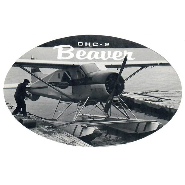 deHavilland DHC2 Beaver Oval Dock Black & White 3 3/4'' X 6'' Sticker