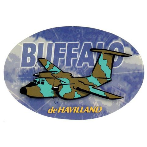 Buffalo Dehavilland Oval Camouflage Cartoon Pudgy 2 7/8'' X 4 3/8'' Sticker