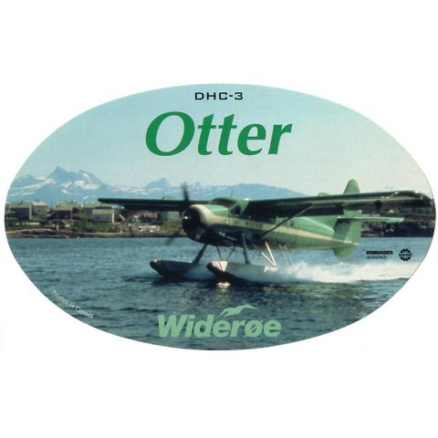 DHC3 Otter Wideroe Oval 3 3/4'' X 6'' Sticker