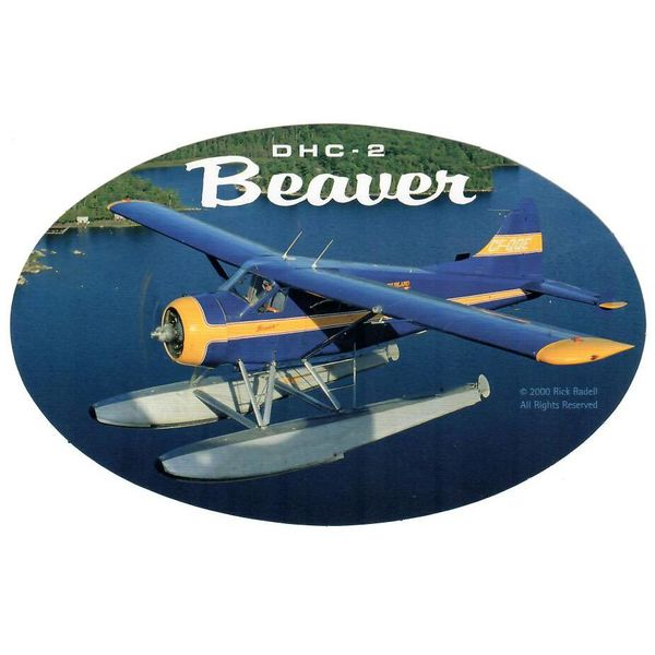 deHavilland DHC2 Beaver Oval Blue/Yellow 3 3/4'' X 6'' Sticker