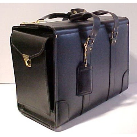 Leather Flight Case Large Double Strap with End Pocket