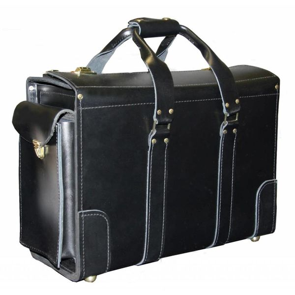avworld.ca Leather Flight Case Medium Double Strap with End Pocket