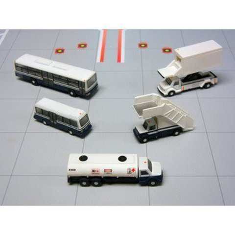 Airport Service Vehicles 1:200 (2 x Buses, Catering Truck, Airstairs, Fuel Truck Bowser)