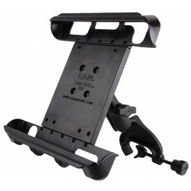"Ram Mounts Yoke Clamp Mount with Tab-Tite™ Universal Spring Loaded Cradle for 10"" Tablets"