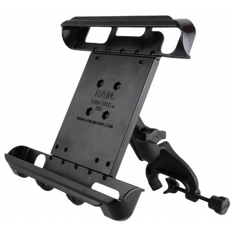 """Yoke Clamp Mount with Tab-Tite™ Universal Spring Loaded Cradle for 10"""" Tablets"""