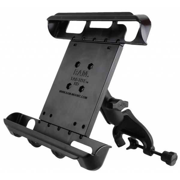 """Ram Mounts Yoke Clamp Mount with Tab-Tite™ Universal Spring Loaded Cradle for 10"""" Tablets"""