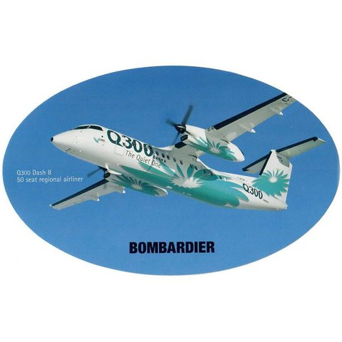 Q300 Dash8 Bombardier House Colours Oval 3 3/4'' X 6'' Sticker