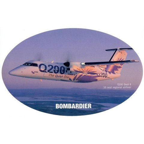 Q200 Dash8 Bombardier House Colours Oval 3 3/4'' X 6'' Sticker