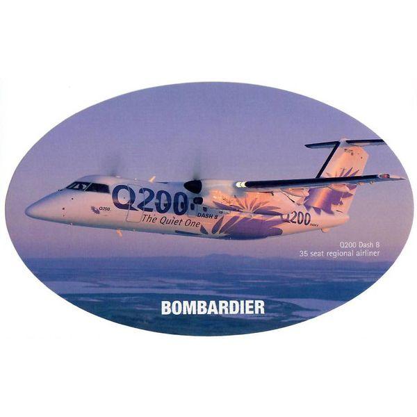 Bombardier Q200 Dash8 Bombardier House Colours Oval 3 3/4'' X 6'' Sticker