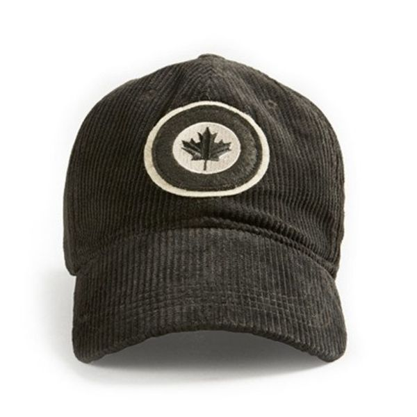 Red Canoe Brands Cap RCAF Roundel Corduroy black grey