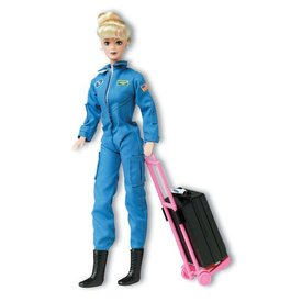 Daron WWT NASA Astronaut Doll (Female) In Blue Suit with luggage (in backpack)