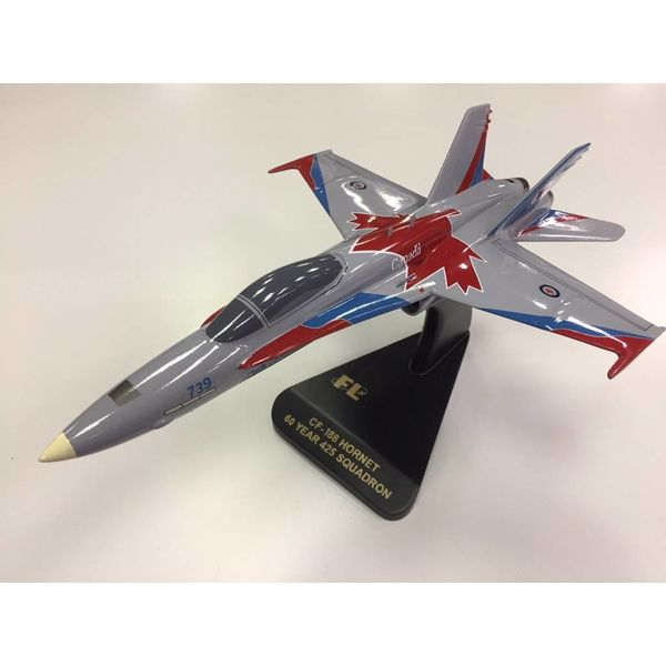 CF18 Hornet 425 Squadron Alouettes 3 Wing 60 years Mahogany with stand