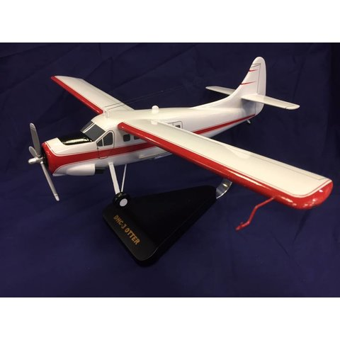 DHC3 Otter White Red Cheatline Mahogany w/stand