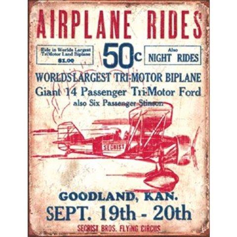 Airplane Rides Metal Sign