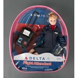 Daron WWT Delta Flight Attendant Doll with luggage (in backpack)