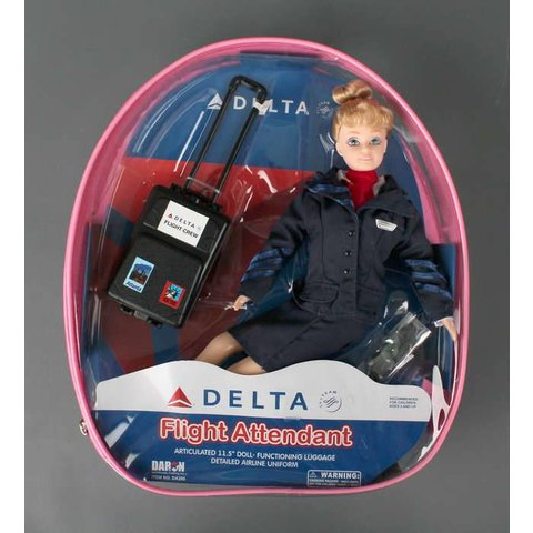 Delta Flight Attendant Doll with luggage (in backpack)