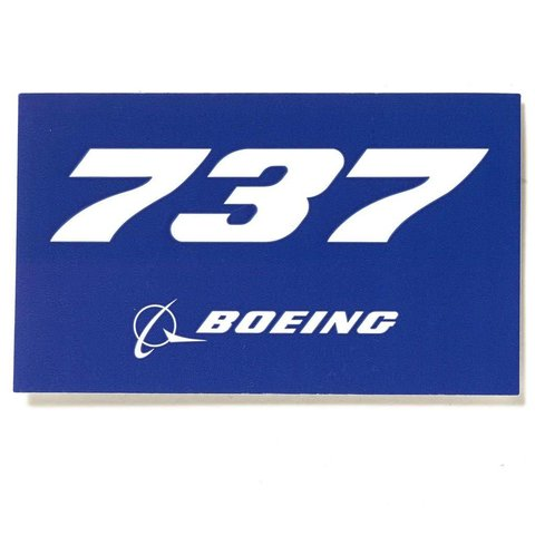 "737 Blue Rectangle Sticker 3 3/4"" x 2 1/4"""